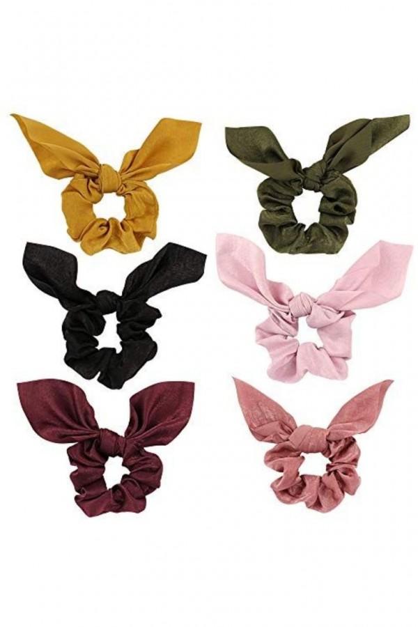 6-Pack Chiffon Hair Scrunchies Hair Bow